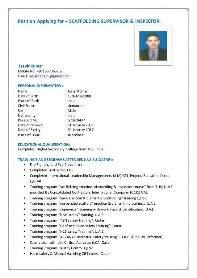 jasvir cv scaffolding inspector