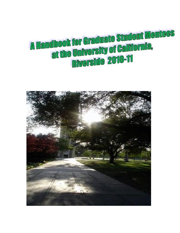 A Handbook for Graduate Mentees