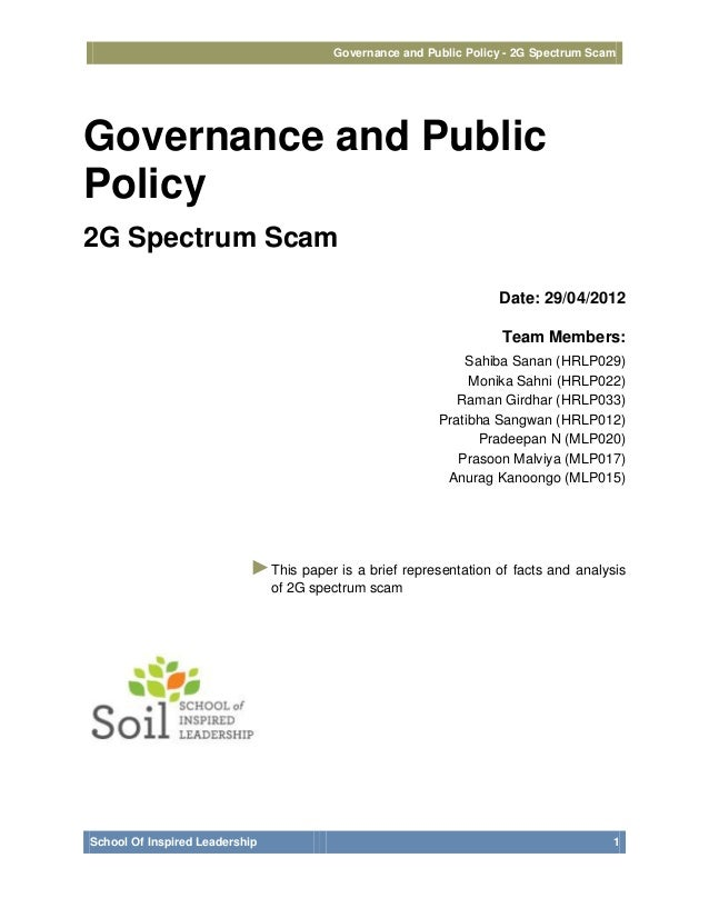 Governance and Public Policy - 2G Spectrum ScamGovernance and PublicPolicy2G Spectrum Scam                                ...