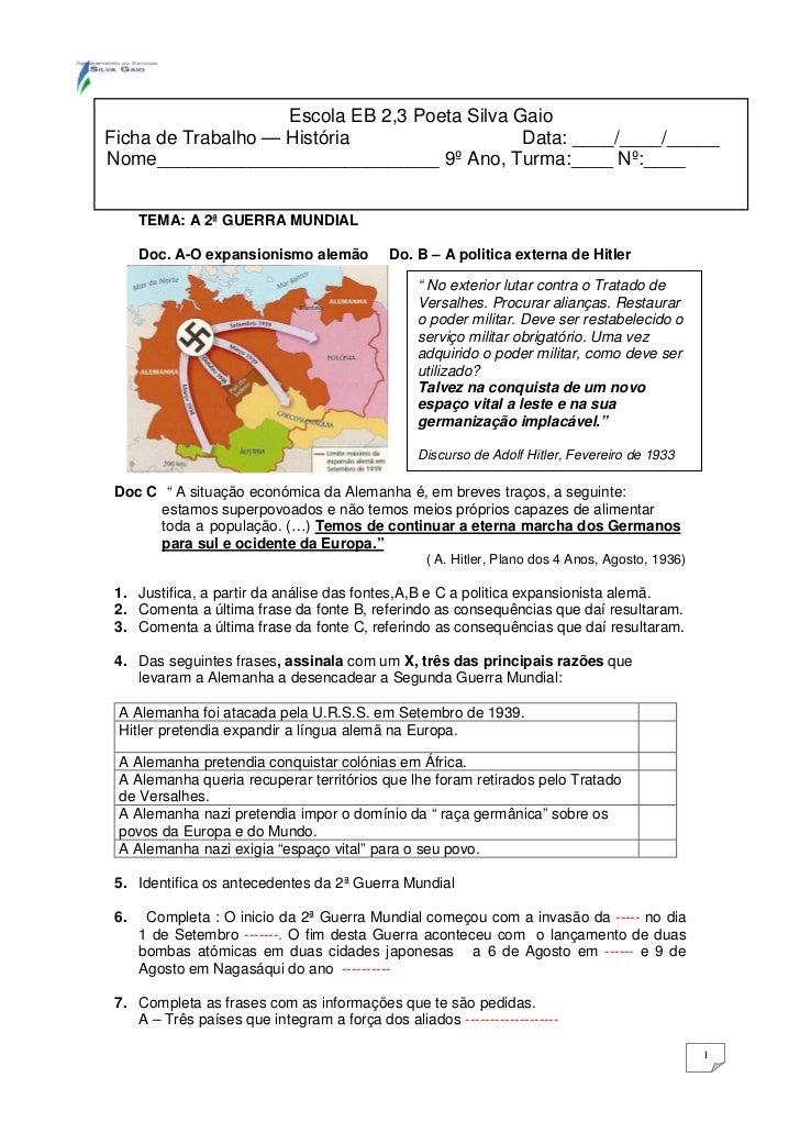 Escola EB 2,3 Poeta Silva GaioFicha de Trabalho — História                   Data: ____/____/_____Nome____________________...