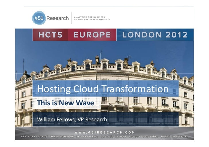 Hosting Cloud TransformationThis is New WaveWilliam Fellows, VP Research