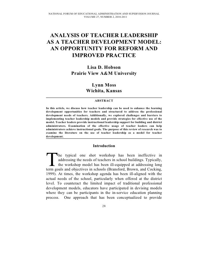 Analysis of Teacher Leadership As A Teacher Development Model: An Opportunity for Reform and Improved Practice by Dr. Lisa D. Hobson and Dr. Lynn Moss