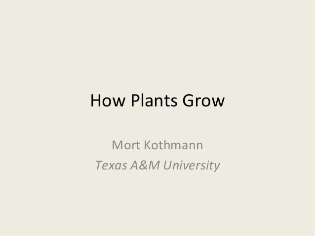 How Plants Grow   Mort KothmannTexas A&M University