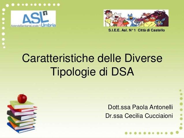 Caratteristiche delle Diverse Tipologie di DSA Dott.ssa Paola Antonelli Dr.ssa Cecilia Cucciaioni S.I.E.E. Asl. N° 1 Città...