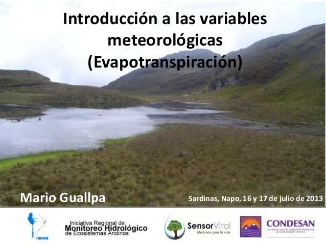 Introducción a las variables meteorológicas (Evapotranspiración)