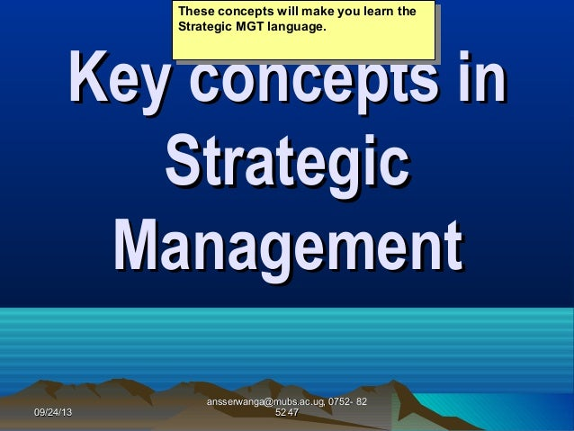 2 key concepts in strategic management