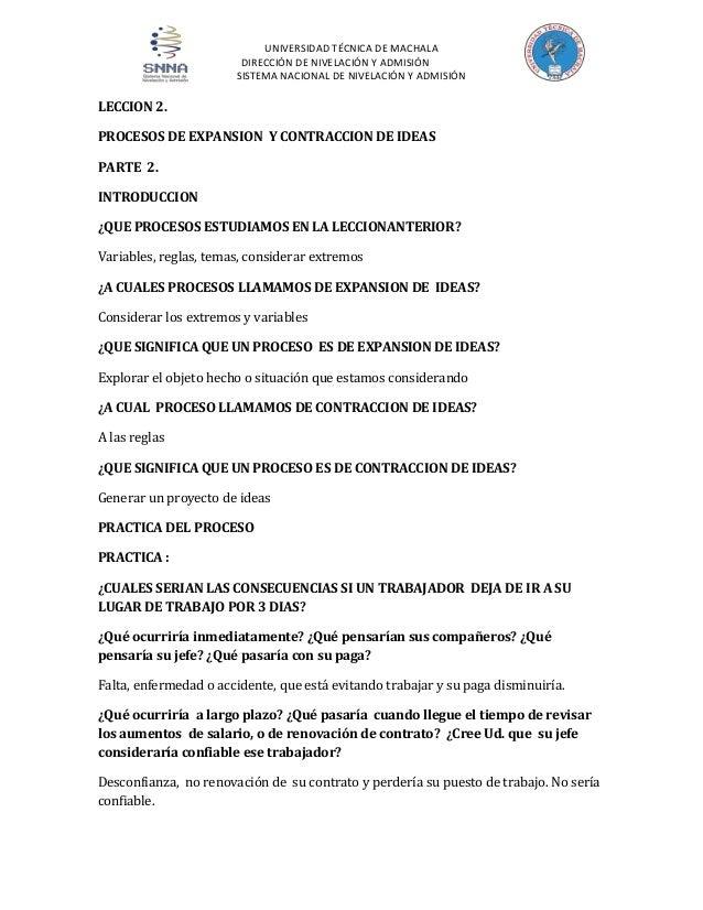 UNIVERSIDAD TÉCNICA DE MACHALA DIRECCIÓN DE NIVELACIÓN Y ADMISIÓN SISTEMA NACIONAL DE NIVELACIÓN Y ADMISIÓN  LECCION 2. PR...