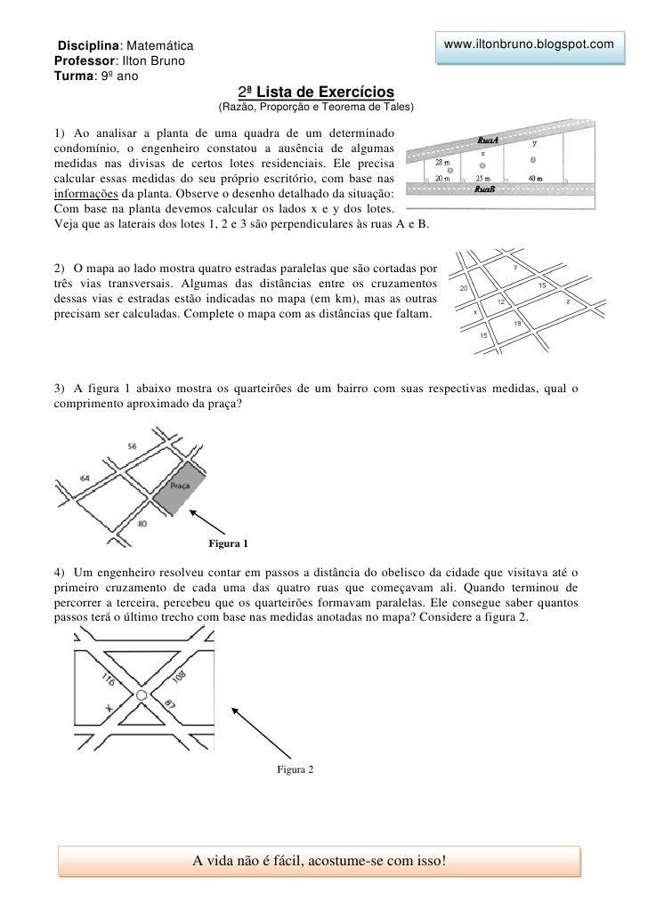 2ª lista de exercícios (razão, proporção e teorema de tales) 9º ano   ilton bruno