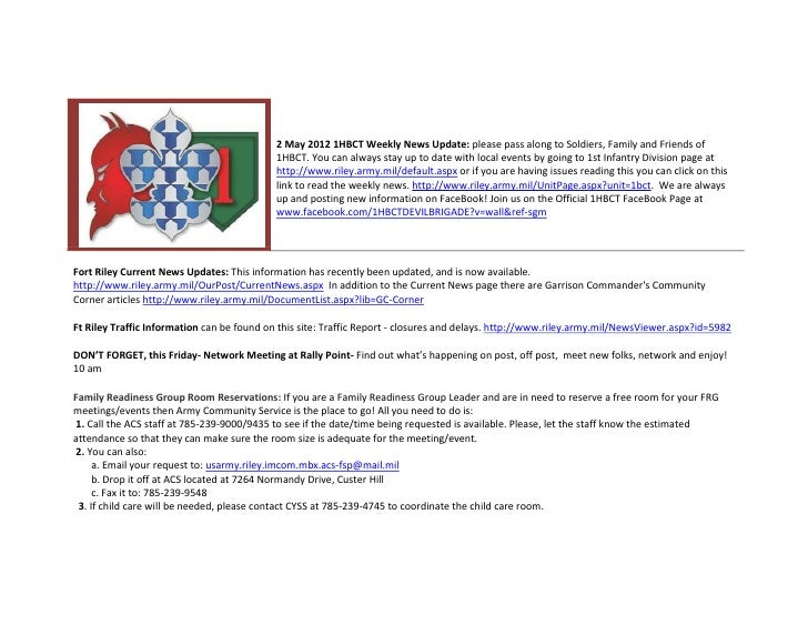 2 May 2012 1HBCT Weekly News Update: please pass along to Soldiers, Family and Friends of                                 ...