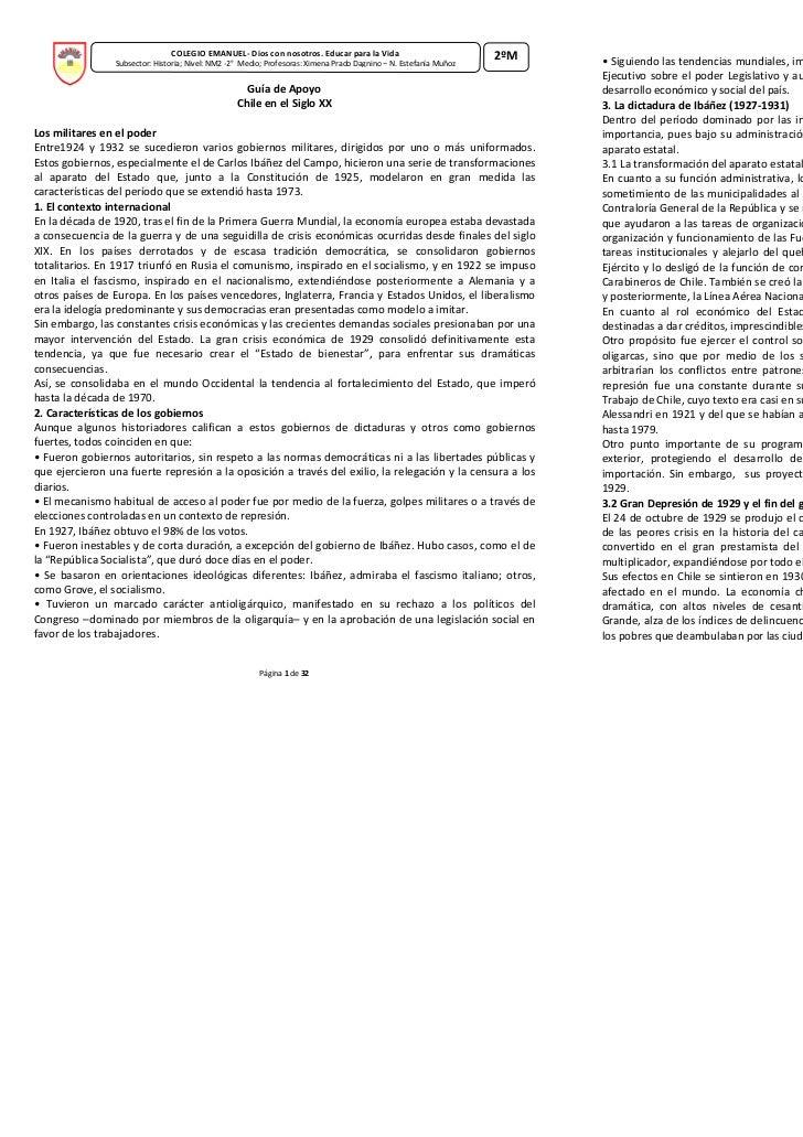 COLEGIO EMANUEL- Dios con nosotros. Educar para la Vida                             2ºM                Subsector: Historia...