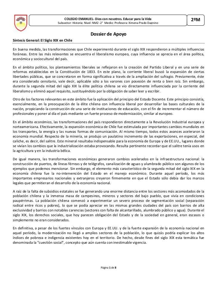 COLEGIO EMANUEL- Dios con nosotros. Educar para la VidaSubsector: Historia; Nivel: NM2 -2°  Medio; Profesora: Ximena Prado...