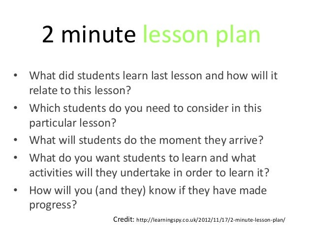 2 minute lesson plan• What did students learn last lesson and how will it  relate to this lesson?• Which students do you n...
