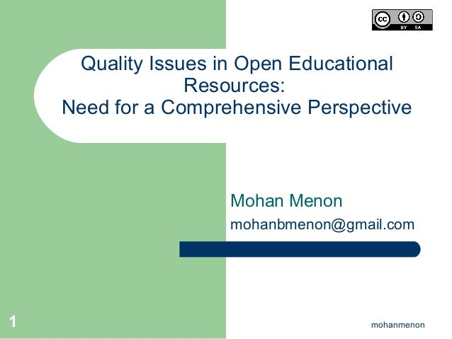 Quality Issues in Open Educational Resources: Need for a Comprehensive Perspective