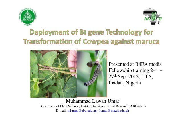 Muhammad Lawan Umar Department of Plant Science, Institute for Agricultural Research, ABU-Zaria E-mail: mlumar@abu.edu.ng ...