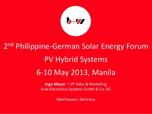 2nd philippine german solar energy forum manila 2013 may 6-10