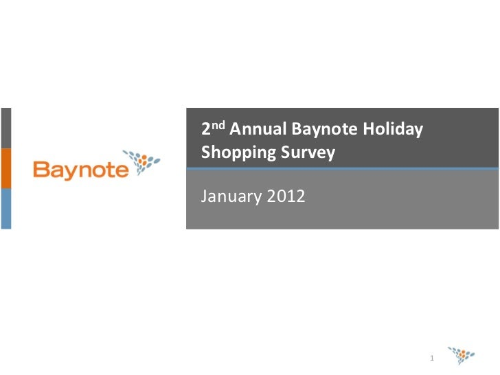 2nd Annual Baynote HolidayShopping SurveyJanuary 2012                             1