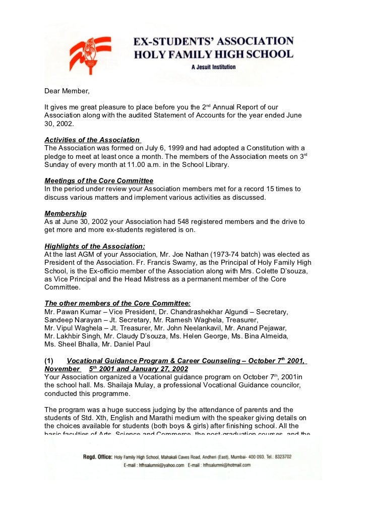Holy Family Ex-Students Association - Annual Report 2001 - 2002