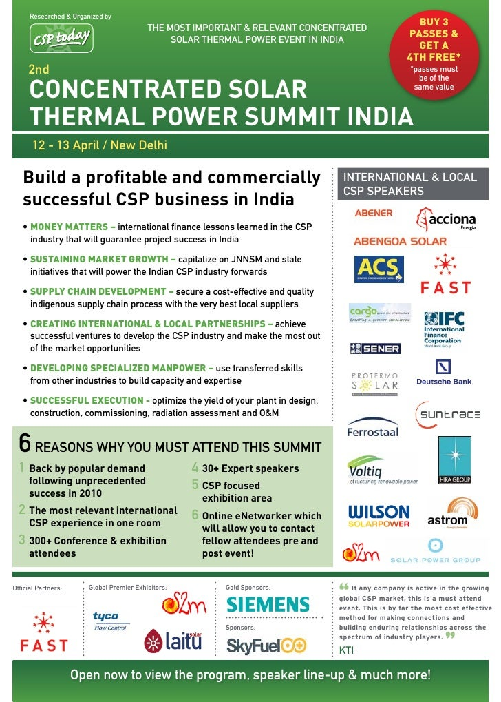 2nd Concentrated Solar Thermal Power India Summit