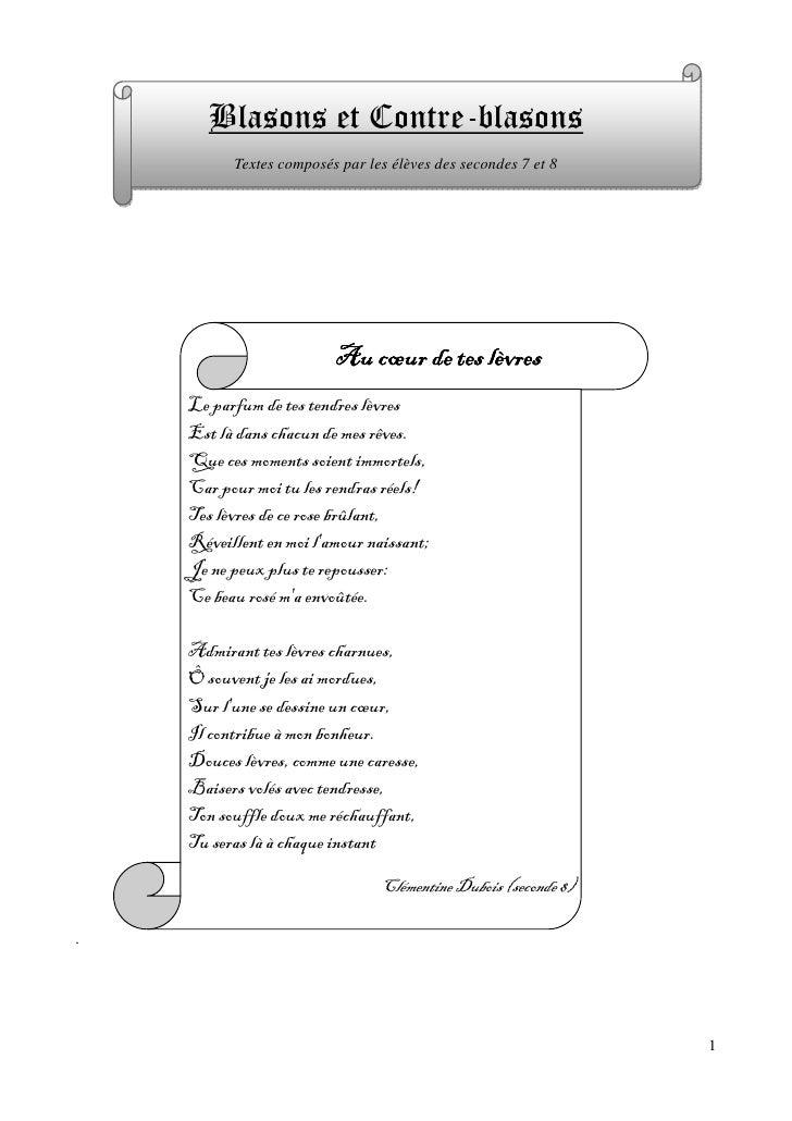 Blasons et Contre-blasons           Textes composés par les élèves des secondes 7 et 8                              Au cœu...
