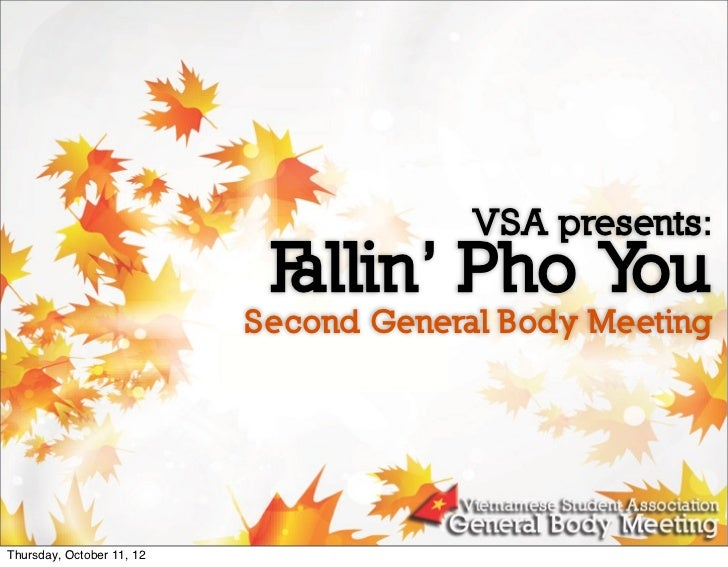 VSA presents:                            F                            allin' Pho You                           Second Gene...
