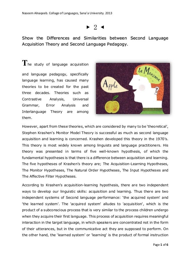 Naseem Alnaqeeb. Collage of Languages, Sana'a University. 2013 Page 1 of 6 ▶ 2 ◀ Show the Differences and Similarities bet...