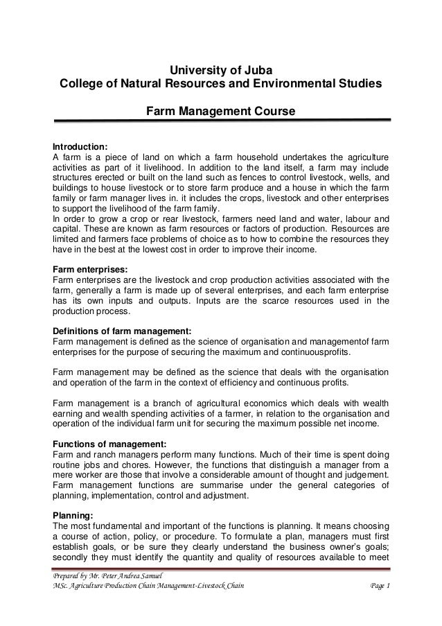 2nd lecture on Farm Management