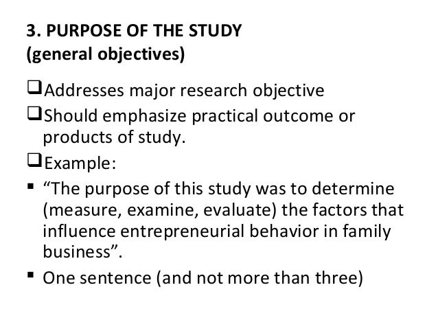 Purpose of study in research