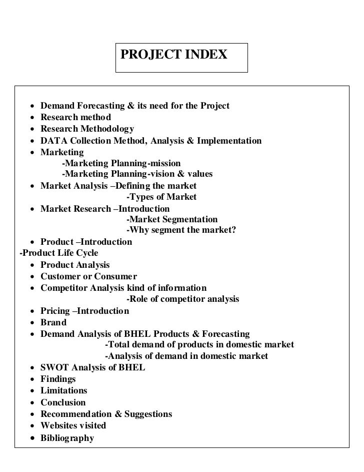 PROJECT INDEX    Demand Forecasting & its need for the Project    Research method    Research Methodology    DATA Coll...