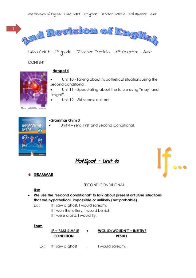 2nd revision of english – 7th grade/ 8th grade - 2nd quarter