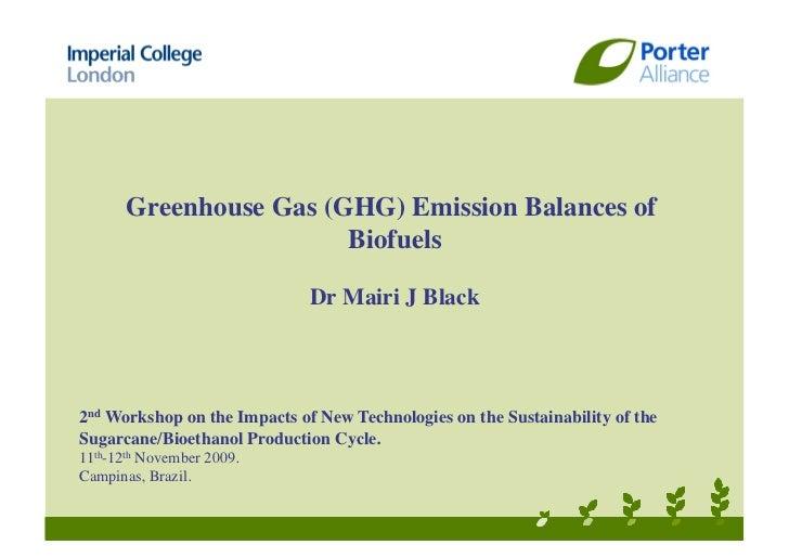 Greenhouse Gas (GHG) Emissions Balances of Biofuels