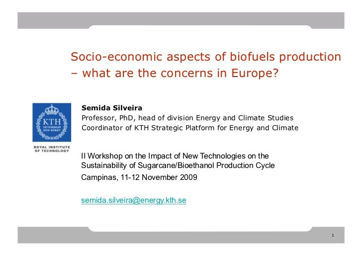 Socio-economics Aspects Biofuels Production: What are the concerns in Europe?