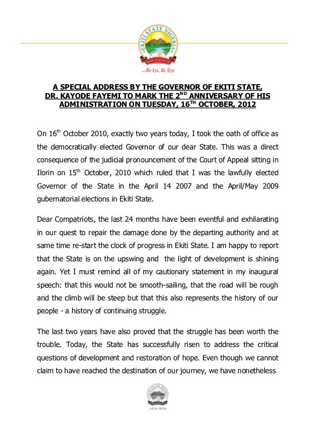 A SPECIAL ADDRESS BY THE GOVERNOR OF EKITI STATE,  DR. KAYODE FAYEMI TO MARK THE 2ND ANNIVERSARY OF HIS      ADMINISTRATIO...