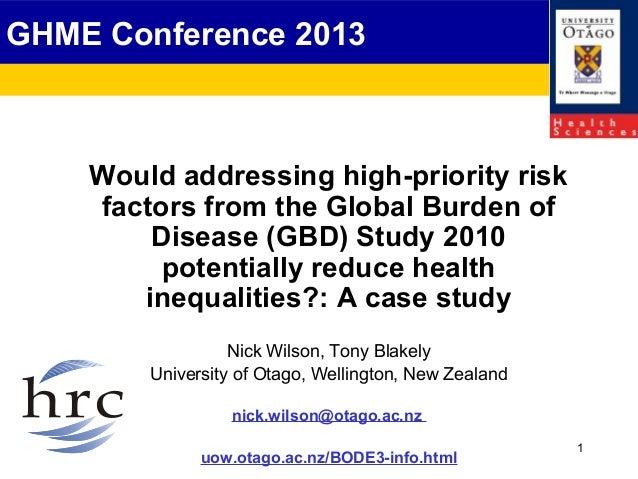 Would addressing high-priority risk factors from the Global Burden of Disease (GBD) Study 2010 potentially reduce health inequalities?: A case study