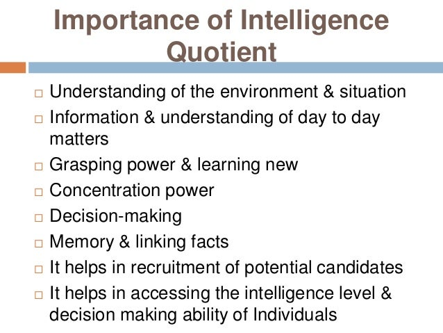 intelligence quotient essay Emotional intelligence research papers look at a sample of an order placed for graduate level services with the organization and structure of paper in a specific format.