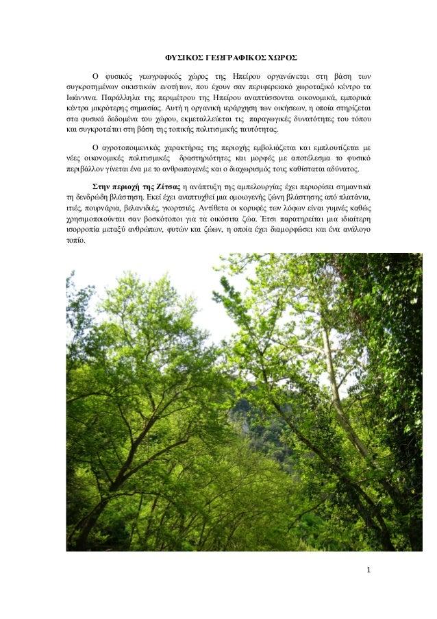 ΦΥΣΙΚΟΣ ΓΕΩΓΡΑΦΙΚΟΣ ΧΩΡΟΣΟ φυσικός γεωγραφικός χώρος της Ηπείρου οργανώνεται στη βάση τωνσυγκροτημένων οικιστικών ενοτήτων...