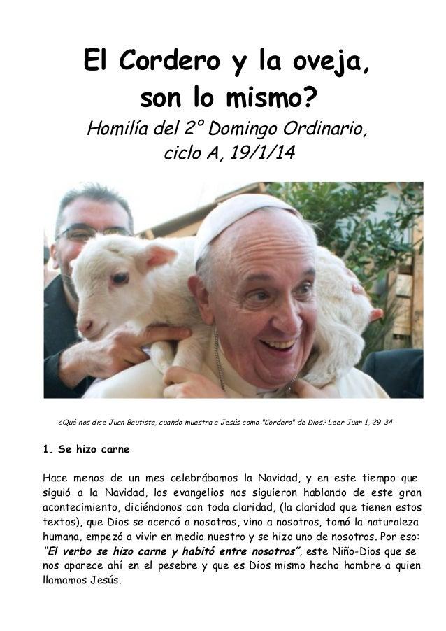El Cordero y la oveja, son lo mismo? Homilía del 2° Domingo Ordinario, ciclo A, 19/1/14  ¿Qué nos dice Juan Bautista, cuan...
