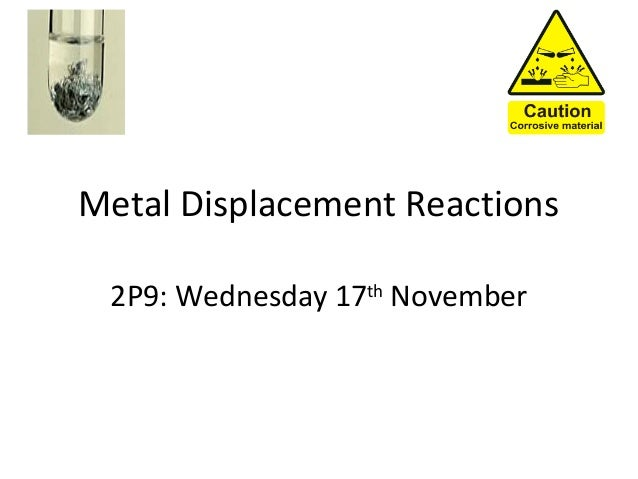 Metal Displacement Reactions 2P9: Wednesday 17th November