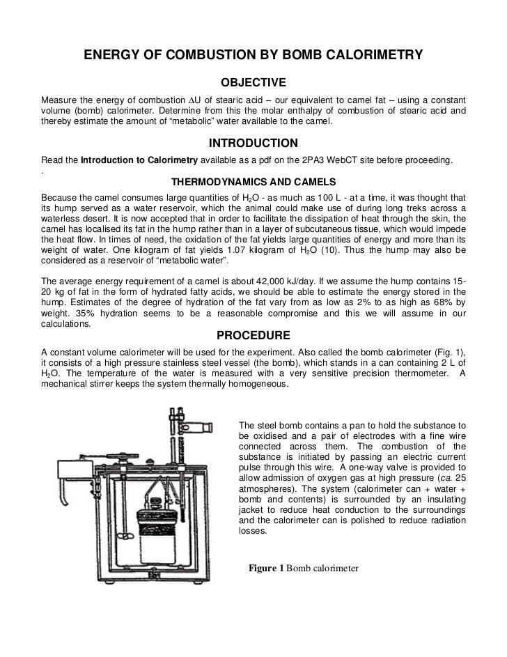 Calorimeter Bomb Experiment 2 Pa32 Bomb Calorimeter