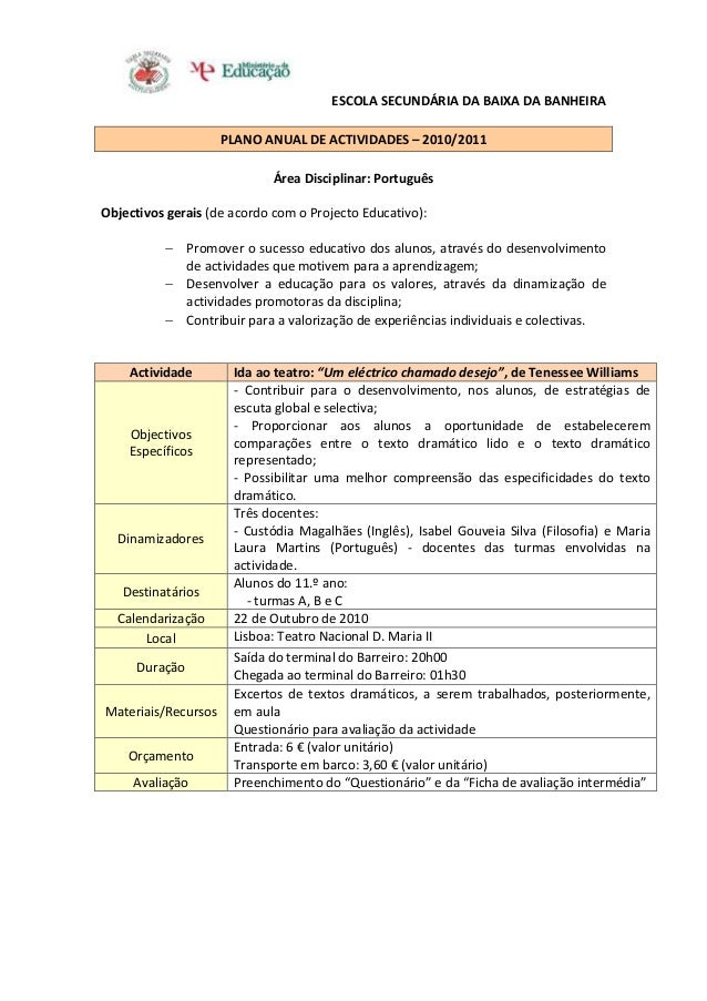 ESCOLA SECUNDÁRIA DA BAIXA DA BANHEIRA PLANO ANUAL DE ACTIVIDADES – 2010/2011 Área Disciplinar: Português Objectivos gerai...