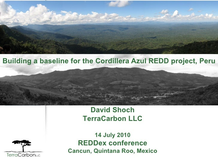 Building a baseline for the Cordillera Azul REDD project, Peru David Shoch TerraCarbon LLC 14 July 2010 REDDex conference ...
