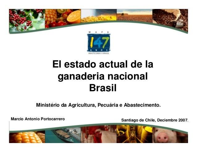 Ministério da Agricultura, Pecuária e Abastecimento. El estado actual de la ganaderia nacional Brasil Marcio Antonio Porto...