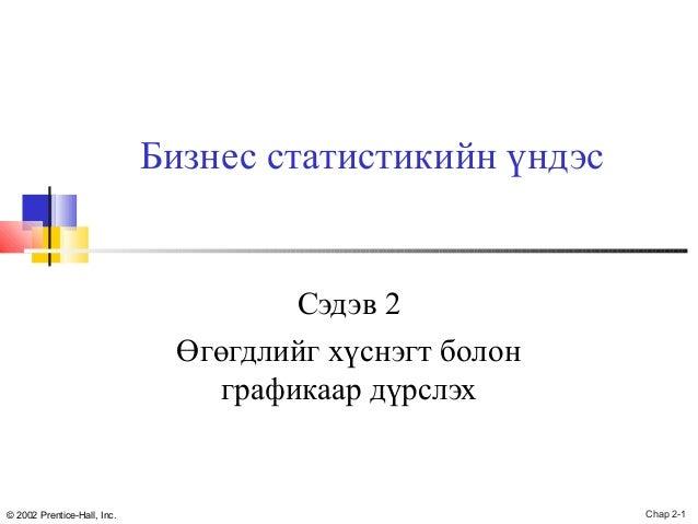 Бизнес статистикийн үндэс  Сэдэв 2 Өгөгдлийг хүснэгт болон графикаар дүрслэх  © 2002 Prentice-Hall, Inc.  Chap 2-1