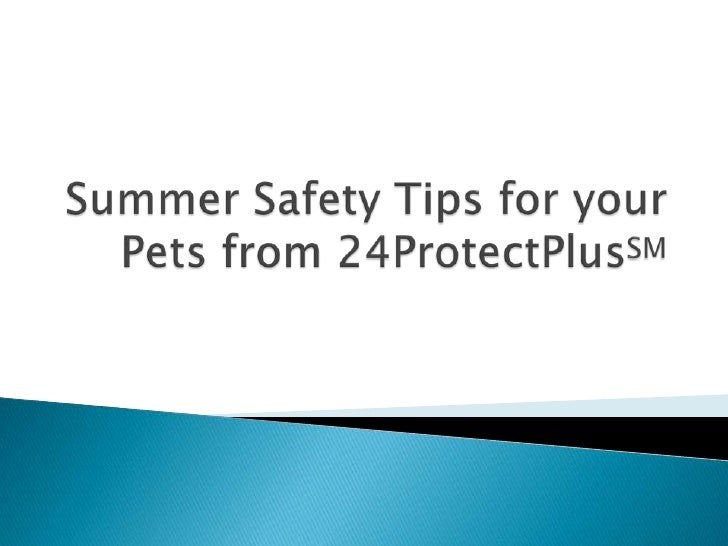 Summer Safety Tips for Your Pets from 24Protect PlusSM<br />© 2009 24Protect Plus℠<br />