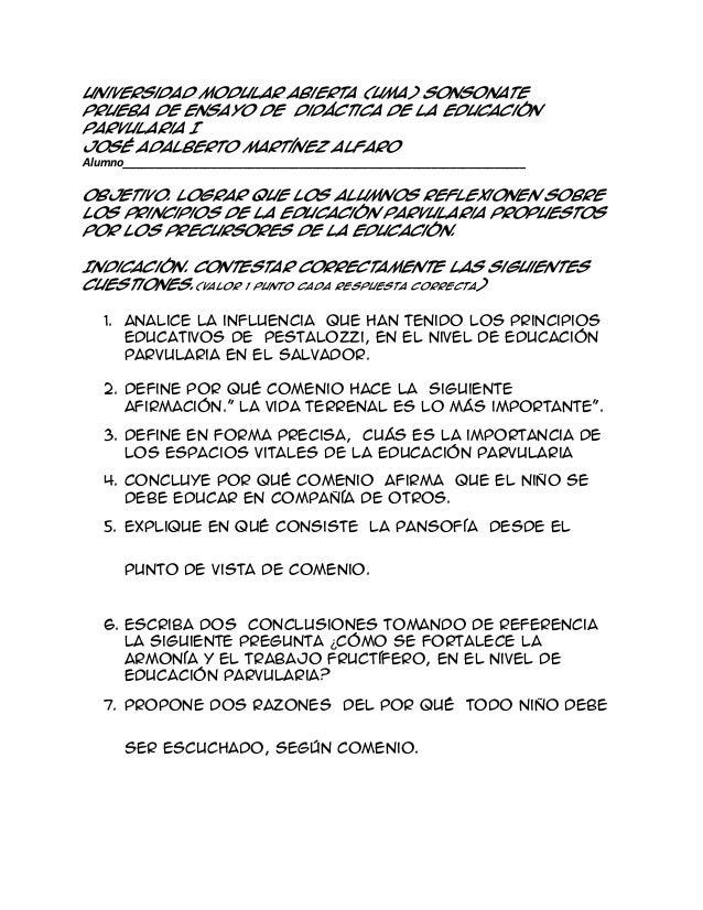 Universidad Modular Abierta (UMA) Sonsonate Prueba de Ensayo de Didáctica de la Educación Parvularia I José Adalberto Mart...
