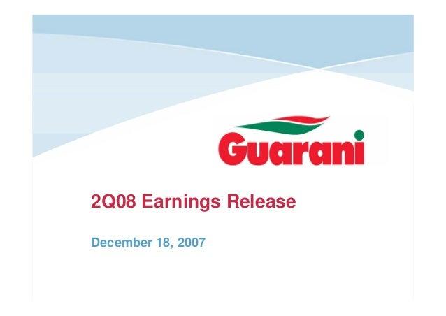 2Q08 Earnings Release December 18, 2007