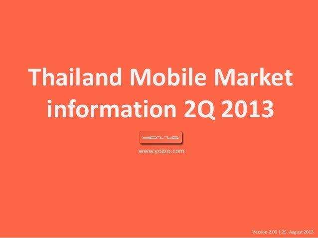 www.yozzo.com Thailand Mobile Market information 2Q 2013 Version 2.00   25. August 2013