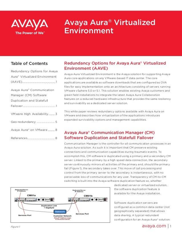 Redundancy Options for Avaya Aura® Virtualized Environment (AAVE) Avaya Aura Virtualized Environment is the Avaya solution...