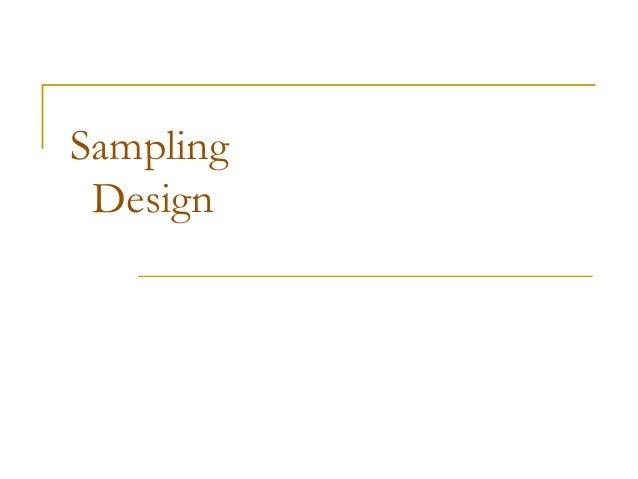 Sampling Design