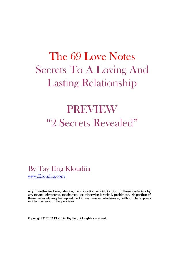 """The 69 Love Notes Secrets To A Loving And Lasting Relationship PREVIEW """"2 Secrets Revealed"""" By Tay IIng Kloudiia www.Kloud..."""