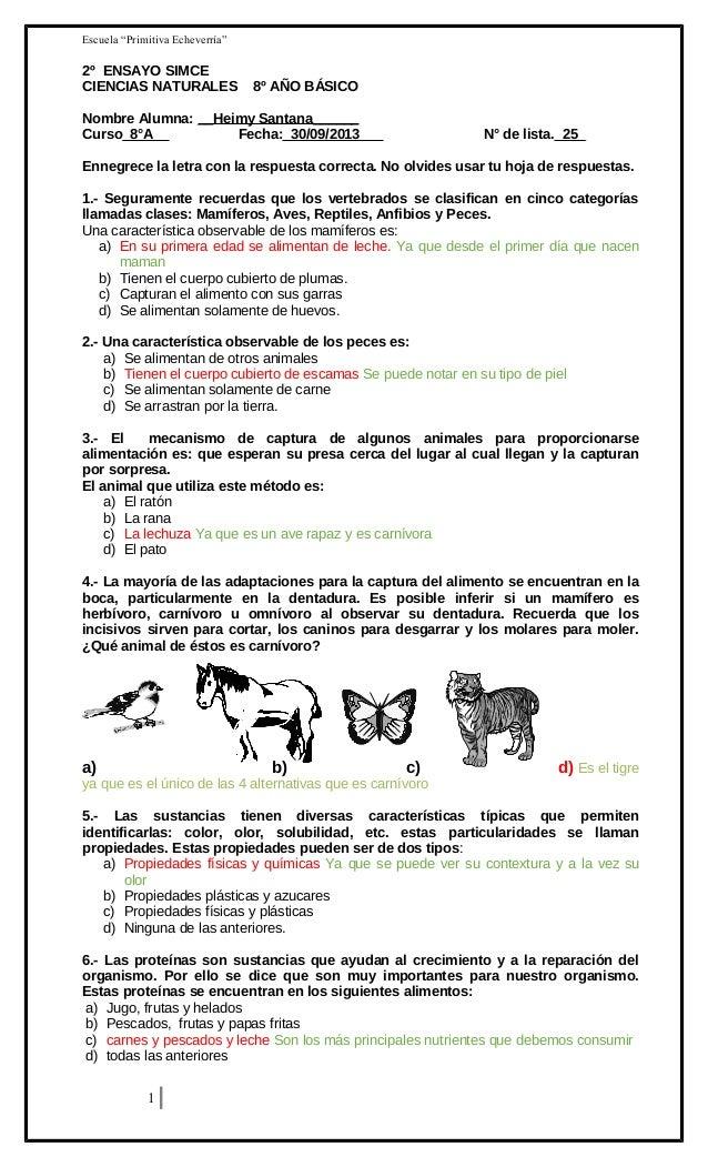"""Escuela """"Primitiva Echeverría""""  2º ENSAYO SIMCE CIENCIAS NATURALES  8º AÑO BÁSICO  Nombre Alumna: __Heimy Santana______ Cu..."""